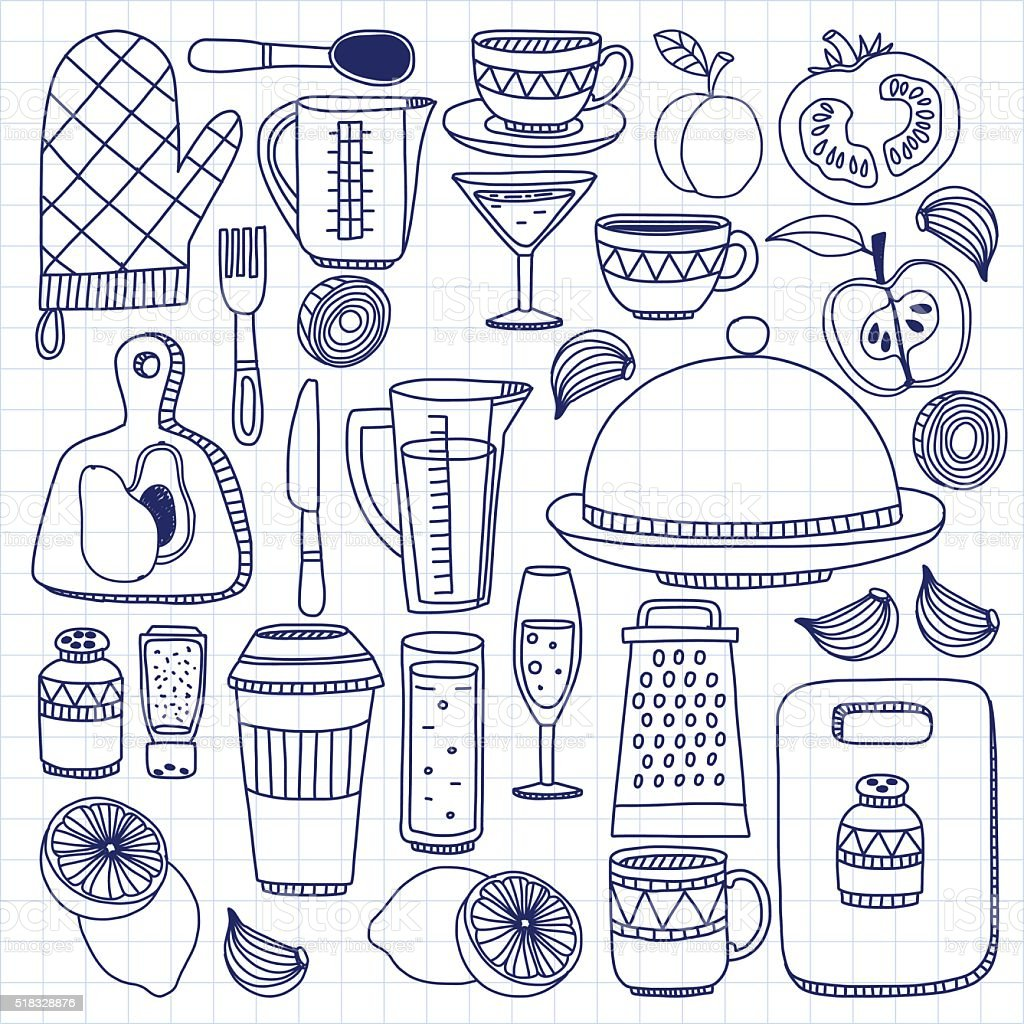 Vector Doodle Set Of Kitchenware Items Royalty Free Vector Doodle Set Of Kitchenware  Items Stock