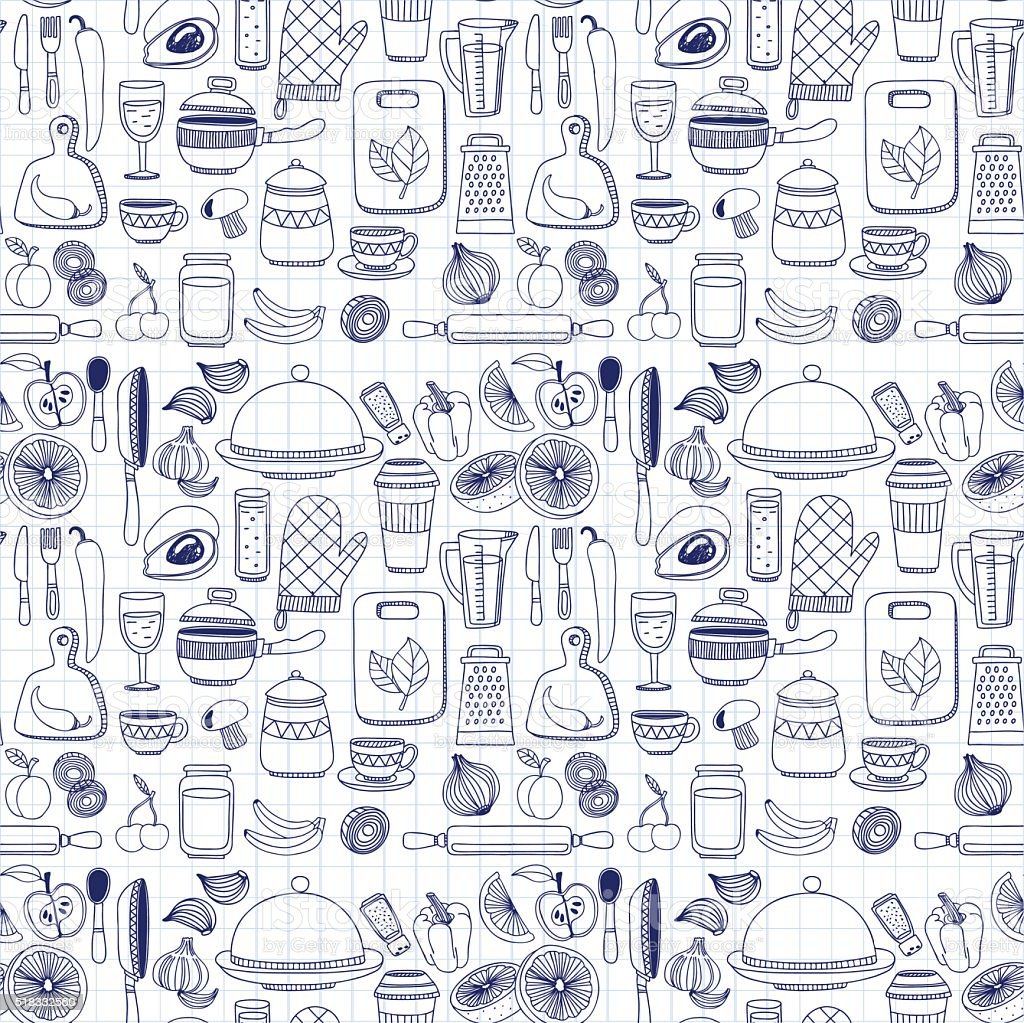 Vector doodle set of kitchenware items vector art illustration