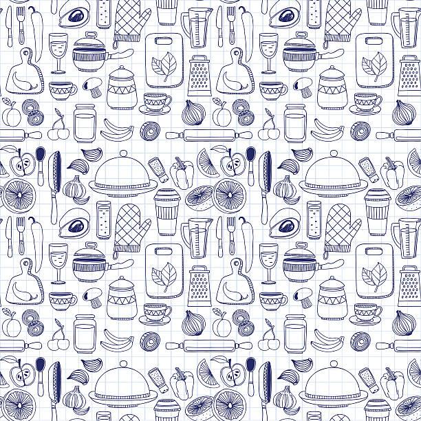 Vecteur Doodle éléments ensemble de vaisselle - Illustration vectorielle