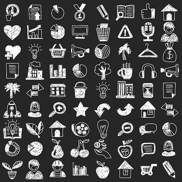vector doodle set with business signs, icons - 家庭料理点のイラスト素材/クリップアート素材/マンガ素材/アイコン素材