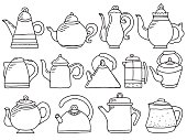 hand drawn teapot doodle collection, illustration isolated on white background