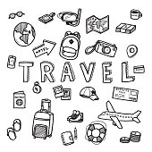 Vector doodle sketch of travel and tourist concept on white background. Doodle art world travel collection design.
