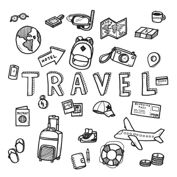 wektor doodle szkic podróży i koncepcji turystycznej na białym tle. - podróżowanie stock illustrations