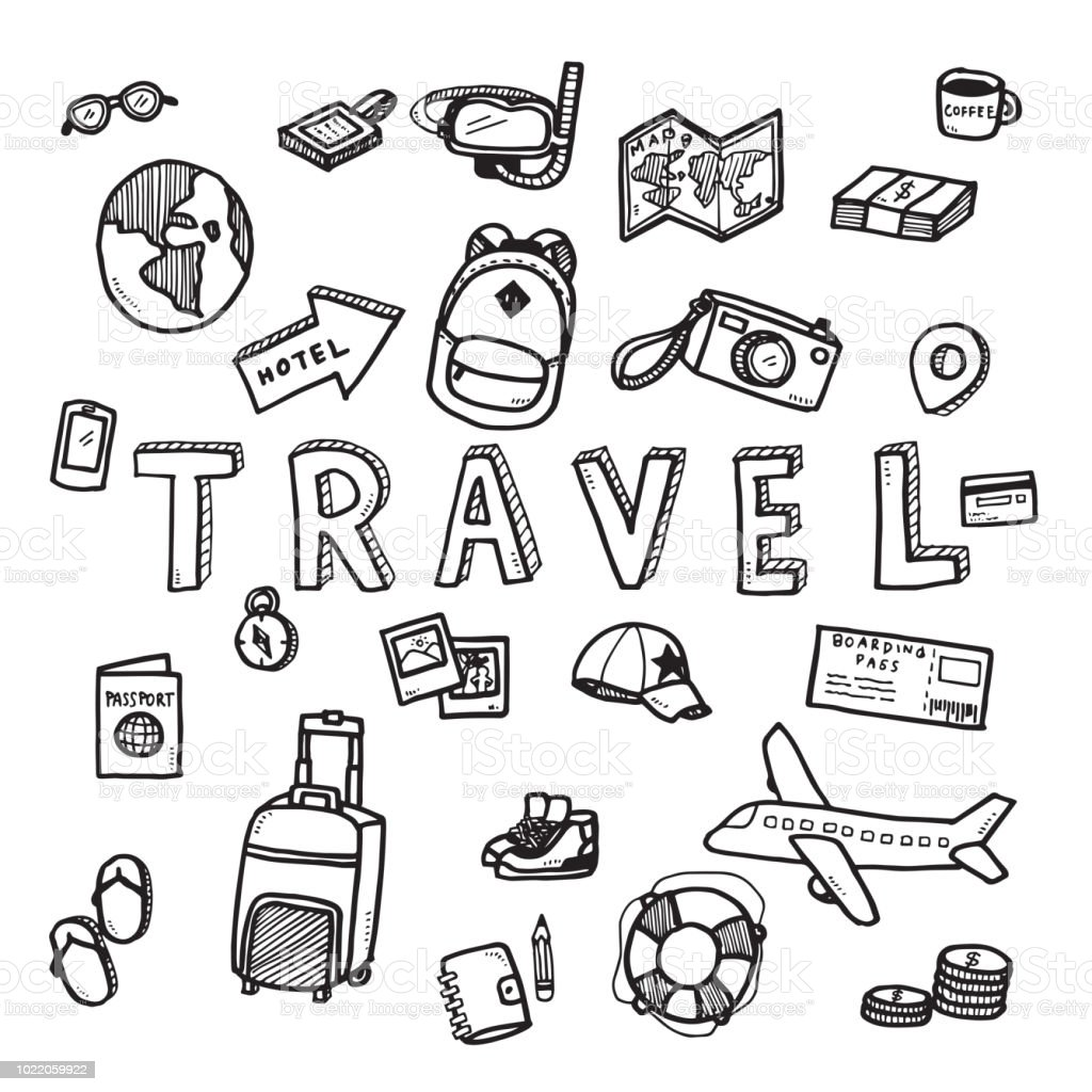 Vektor Doodle Skizze des Reise- und Tourismus-Konzept auf weißem Hintergrund. – Vektorgrafik