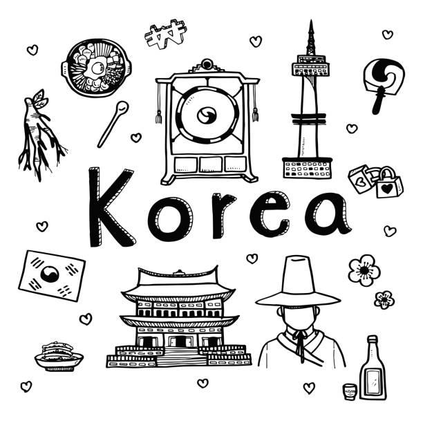 stockillustraties, clipart, cartoons en iconen met vector doodle schets reis- en toeristische attractie achtergrond voor zuid-korea - zuid korea