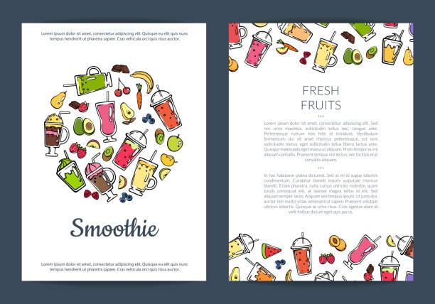 bildbanksillustrationer, clip art samt tecknat material och ikoner med doodle smoothie kort eller flyer mall vektorillustration - smoothie