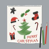 vector doodle style christmas greeting card