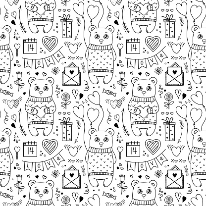 Vector Doodle style Seamless Pattern with Cute Bears and Valentines Day symbols. Hearts, Air Balloons, Flowers, Flags Gift, Letter. Holiday background for design
