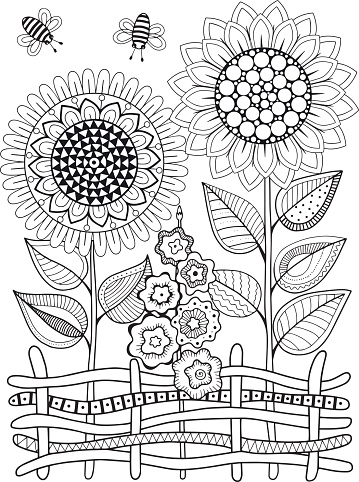 Vector doodle sunflowers. Coloring book for adult. Summer flowers. Flowerbed