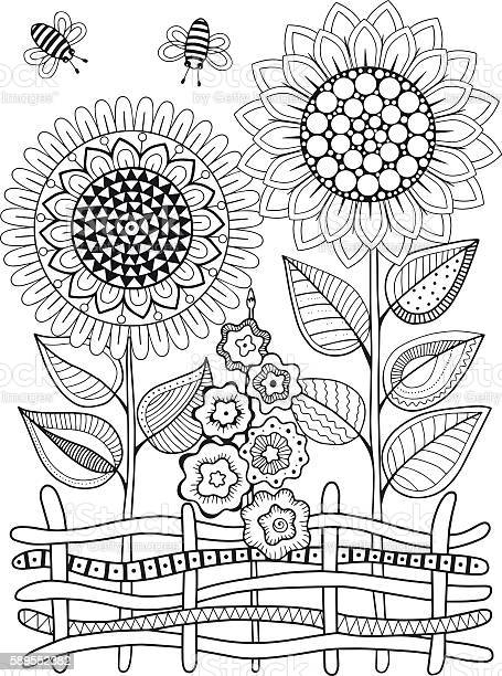 Vector doodle sunflowers coloring book for adult summer flowers vector id589552382?b=1&k=6&m=589552382&s=612x612&h=qxukoi5otwxrzgdhtl hyvrhb h0yv55wzuw3m4odqu=