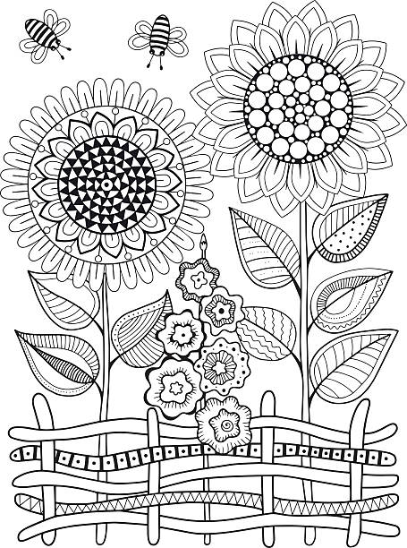 vector doodle sunflowers. coloring book for adult. summer flowers. flowerbed - 색칠하기 stock illustrations