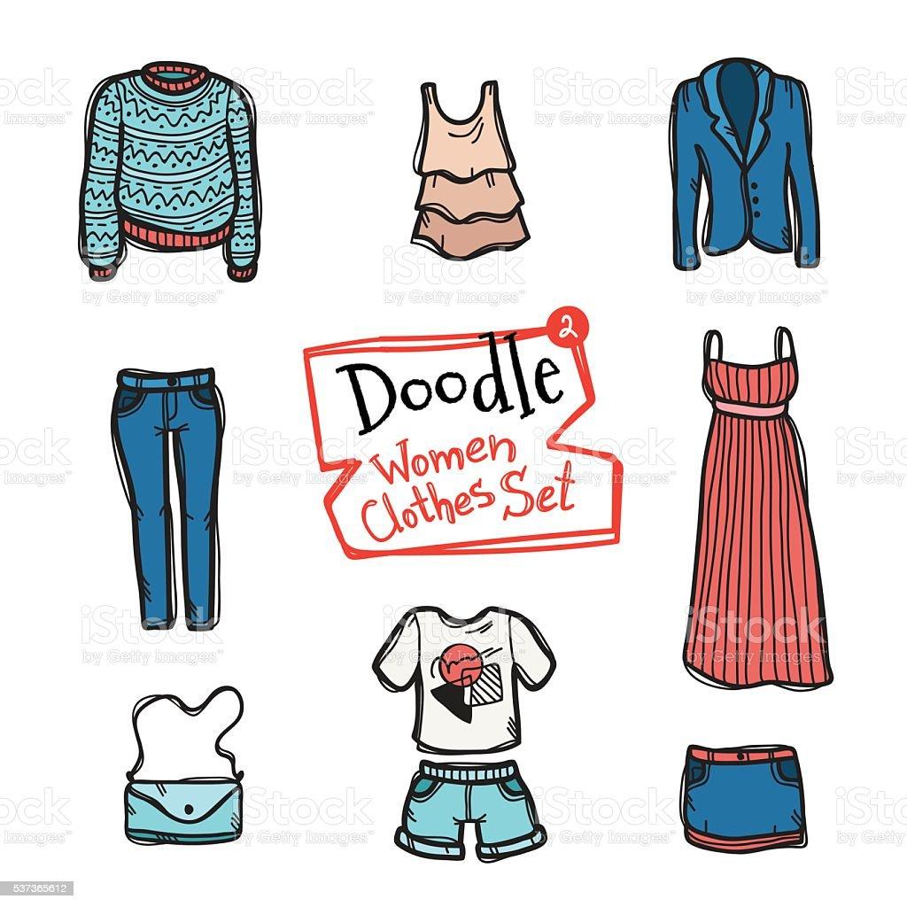 6b6d24a20 Vector conjunto de ícones de desenhos roupa de mulheres. Desenhado à mão  coleção de vector