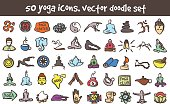 vector doodle yoga icons set