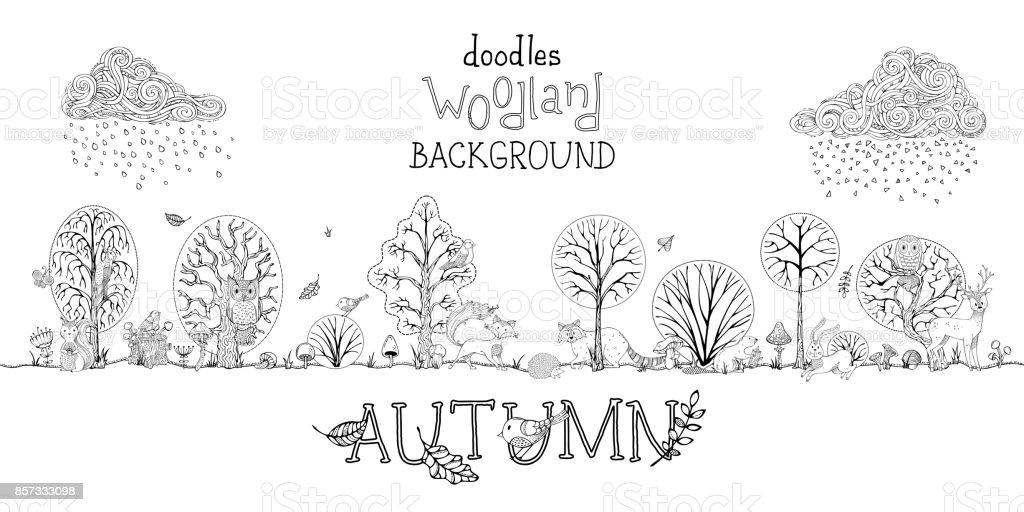 Vector doodles autumn woodland background. vector art illustration