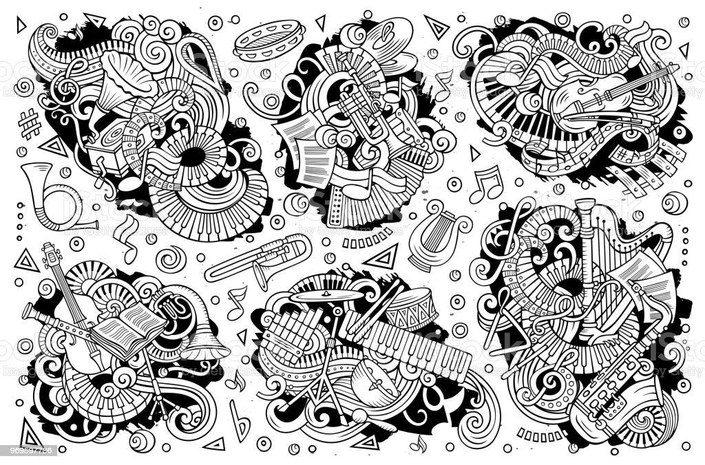 Vector doodles conjunto de dibujos animados de instrumentos musicales clásicos objetos combinaciones - ilustración de arte vectorial
