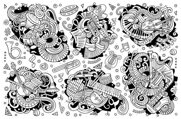 Vektor-doodles Cartoon-Satz von klassischen Musikinstrumenten Objekte Kombinationen – Vektorgrafik