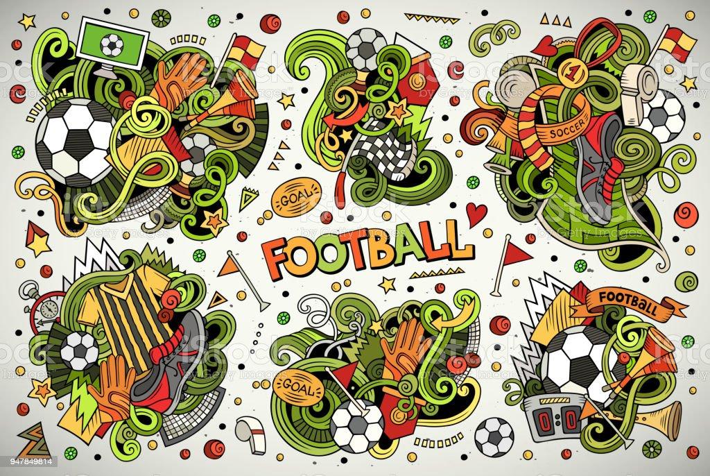 Vektor-doodles Cartoon-Reihe von Fußball-Kombinationen von Objekten – Vektorgrafik