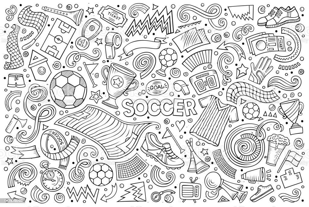 Vektor-doodles Cartoon Fußball Objektmenge – Vektorgrafik