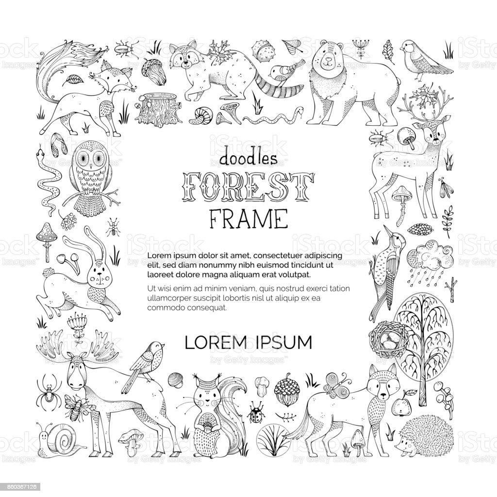 Vector doodles forest frame. vector art illustration
