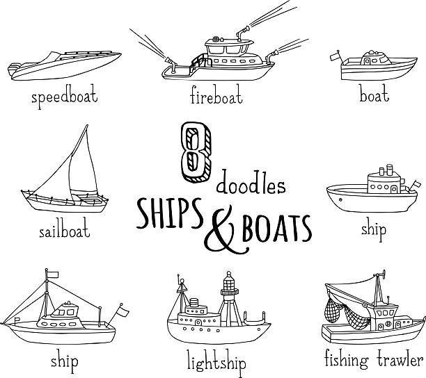 ilustrações de stock, clip art, desenhos animados e ícones de rabiscos náuticos vector conjunto de ícones do vaso. - fishing boat