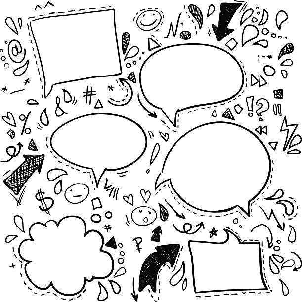 ilustraciones, imágenes clip art, dibujos animados e iconos de stock de vector de burbujas de discurso garabatos. de negocios, finanzas y éxito. - marcos de garabatos y dibujados a mano
