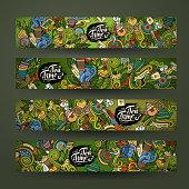 Vector doodles tea time design banners