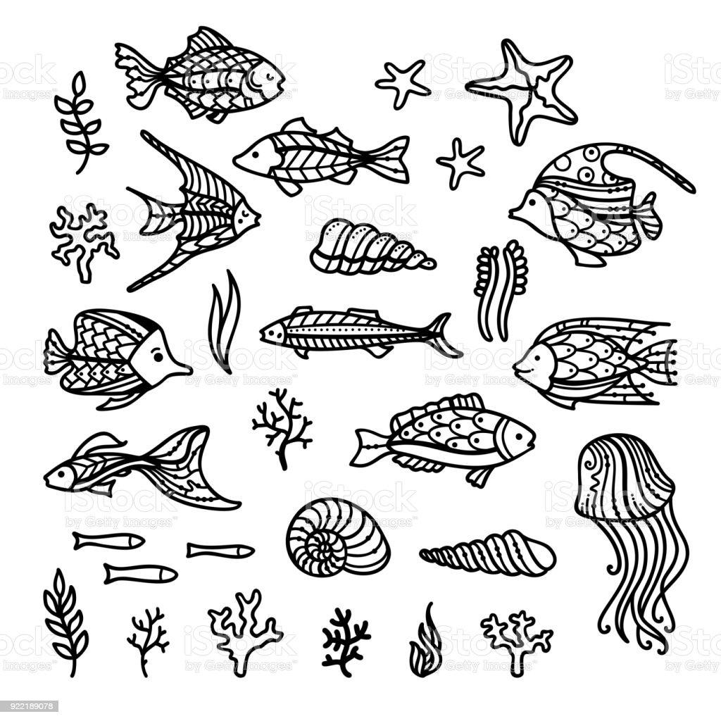 Vektör Sualtı Icons Set Doodles Stok Vektör Sanatı Akuatik