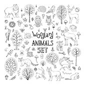 Hand-drawn collection for children colouring books, invitations, cards and posters. Deer, fox, hedgehog, owl, hare, raccoon, snail, squirrel, bee, mushroom, tree.