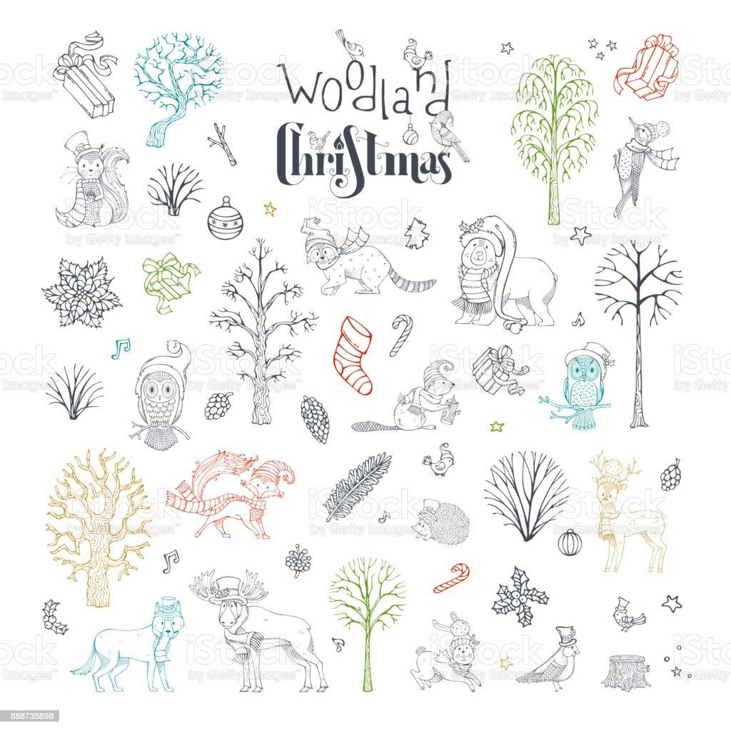 Vector doodles woodland Christmas set. vector art illustration