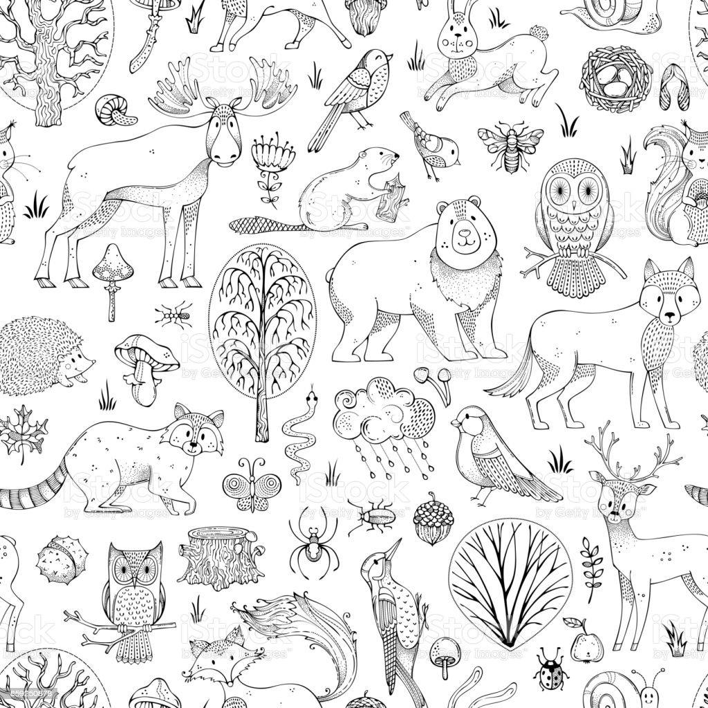 Vector doodles woodland seamless pattern. vector art illustration