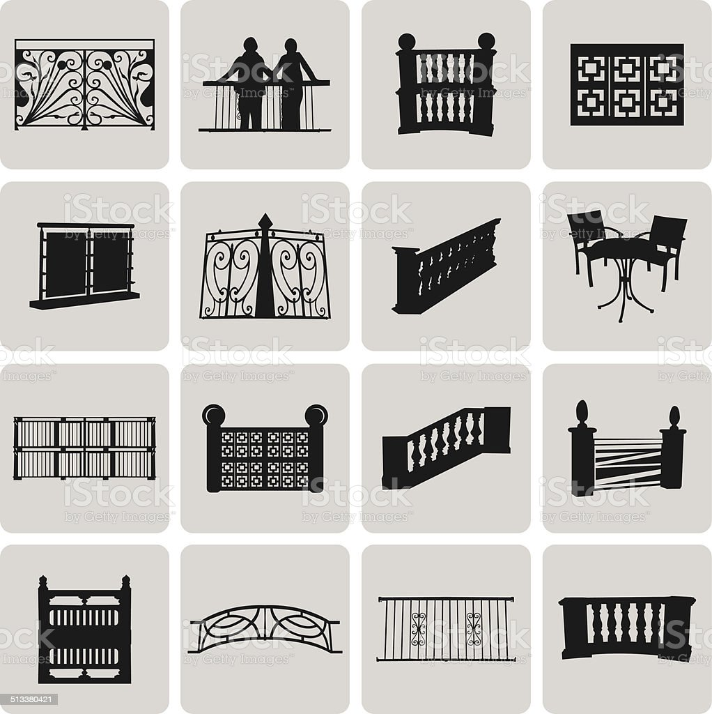 Vector Doorway and Balcony Black Icons and Element set2. Vector vector art illustration