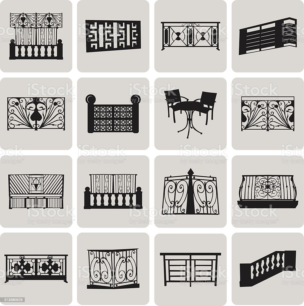 Vector Doorway and Balcony Black Icons and Element set3. Vector vector art illustration
