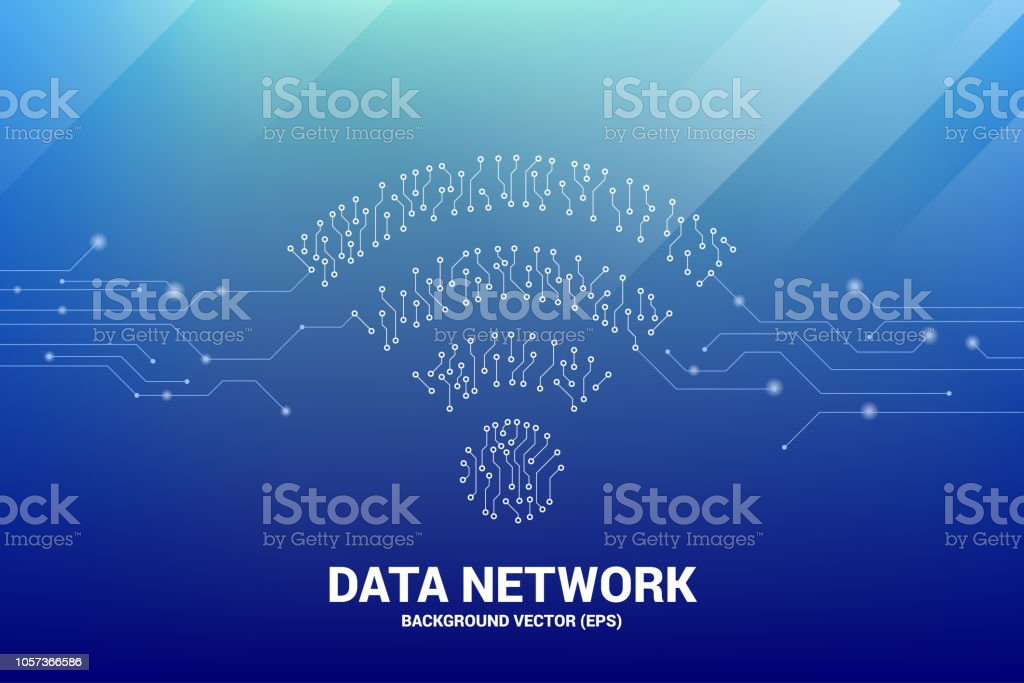 Vector dot connect line circuit board style mobile data icon. vector art illustration