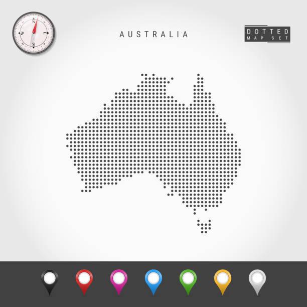 bildbanksillustrationer, clip art samt tecknat material och ikoner med vektor prickar karta över australien. enkel silhuett av australien. realistisk vektor kompass. flerfärgade kartnålar - australia