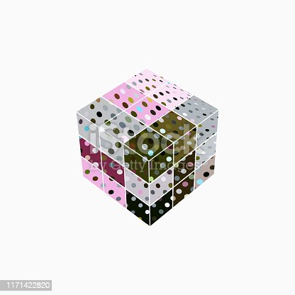 istock Vector dots pattern cube icon 1171422820