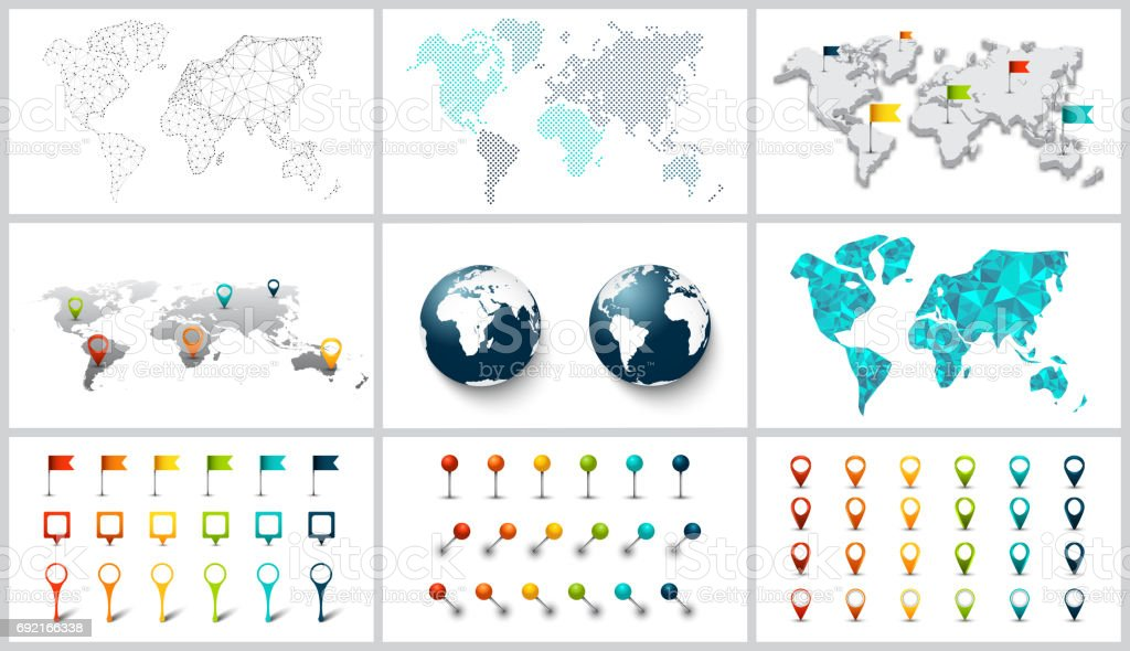 Vector dotted, connection, polygonal and 3d world map. vector art illustration