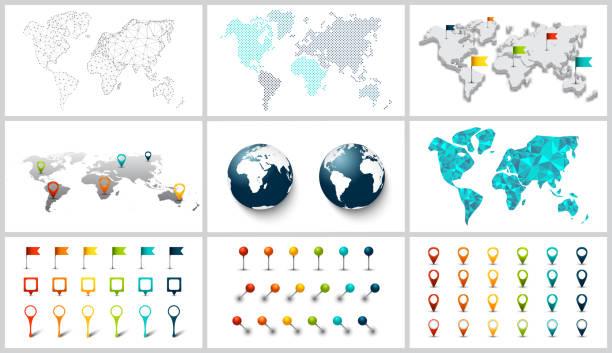 ilustrações de stock, clip art, desenhos animados e ícones de vector dotted, connection, polygonal and 3d world map. - europe points