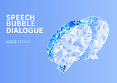 Vector dotted line connecting low polygon speech bubbles, concept of dialogue communication