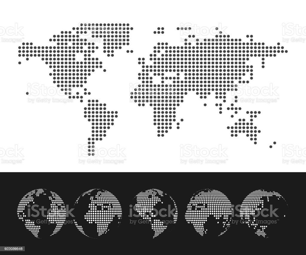 Vector salpicado mapa del mundo y globos - ilustración de arte vectorial