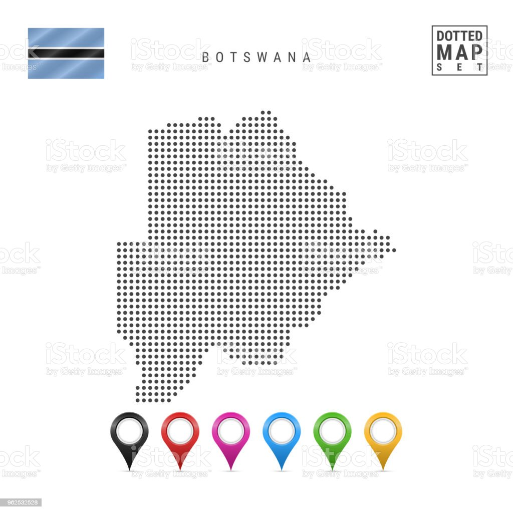 Vector Dotted Map of Botswana. Simple Silhouette of Botswana. National Flag of Botswana. Set of Multicolored Map Markers - Royalty-free Africa stock vector
