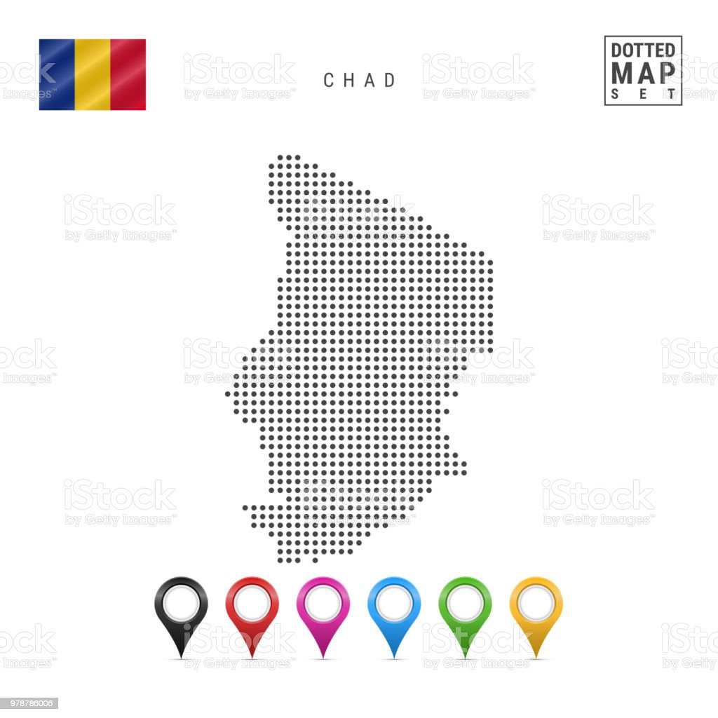 Vector Dotted Map Of Chad Simple Silhouette Of Chad The