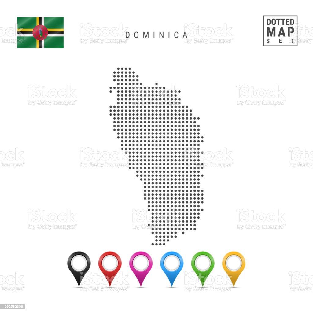Vector pontilhada mapa da Dominica. Silhueta simples de Dominica. Bandeira da Dominica. Conjunto de marcadores multicoloridos mapa - Vetor de Alfinetar royalty-free