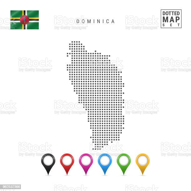 Vetores de Vector Pontilhada Mapa Da Dominica Silhueta Simples De Dominica Bandeira Da Dominica Conjunto De Marcadores Multicoloridos Mapa e mais imagens de Alfinetar
