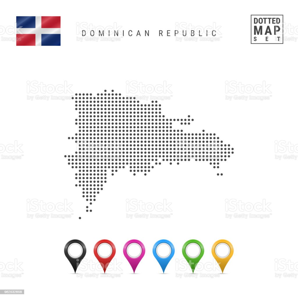 Vector Dotted Map of Dominican Republic. Silhouette of Dominican Republic. Flag of Dominican Republic. Map Markers Set - Royalty-free Caribbean stock vector