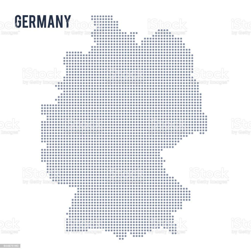 Vector en pointillés carte d'Allemagne isolé sur fond blanc. - Illustration vectorielle