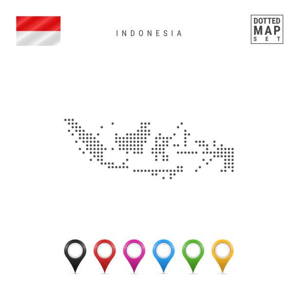 stockillustraties, clipart, cartoons en iconen met vector gestippeld kaart van indonesië. eenvoudige silhouet van indonesië. vlag van indonesië. set van veelkleurige kaart markers - indonesische cultuur