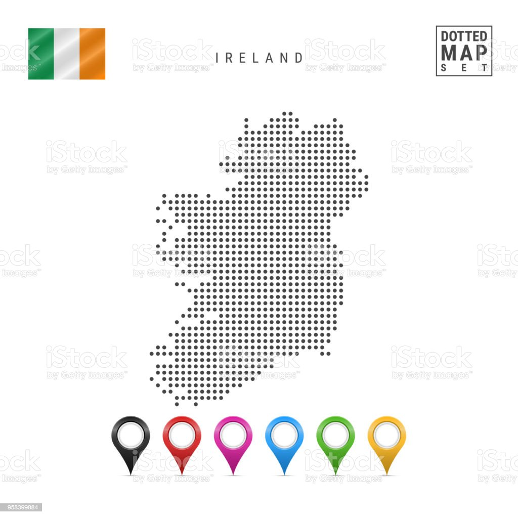 Vector Dotted Map Of Ireland. Simple Silhouette Of Ireland. National Flag Of  Ireland.