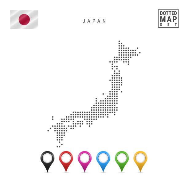 ベクトル、ドット日本地図。日本のシンプルなシルエット。日本の国旗。色とりどりのマップ マーカーのセット - 日本 地図点のイラスト素材/クリップアート素材/マンガ素材/アイコン素材