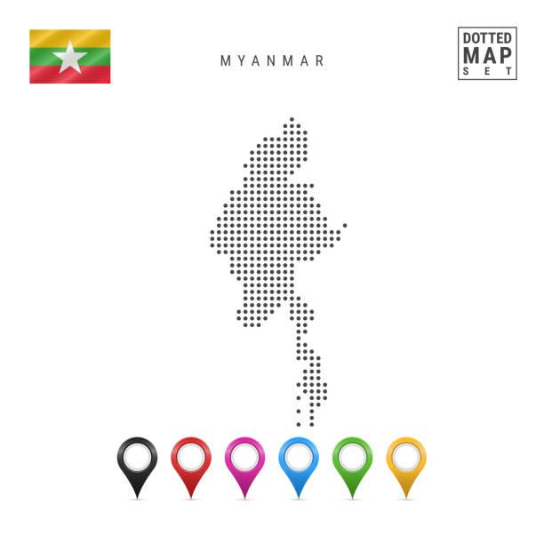 stockillustraties, clipart, cartoons en iconen met vector gestippeld kaart van myanmar. eenvoudige silhouet van myanmar. nationale vlag van myanmar. set van veelkleurige kaart markers - myanmar