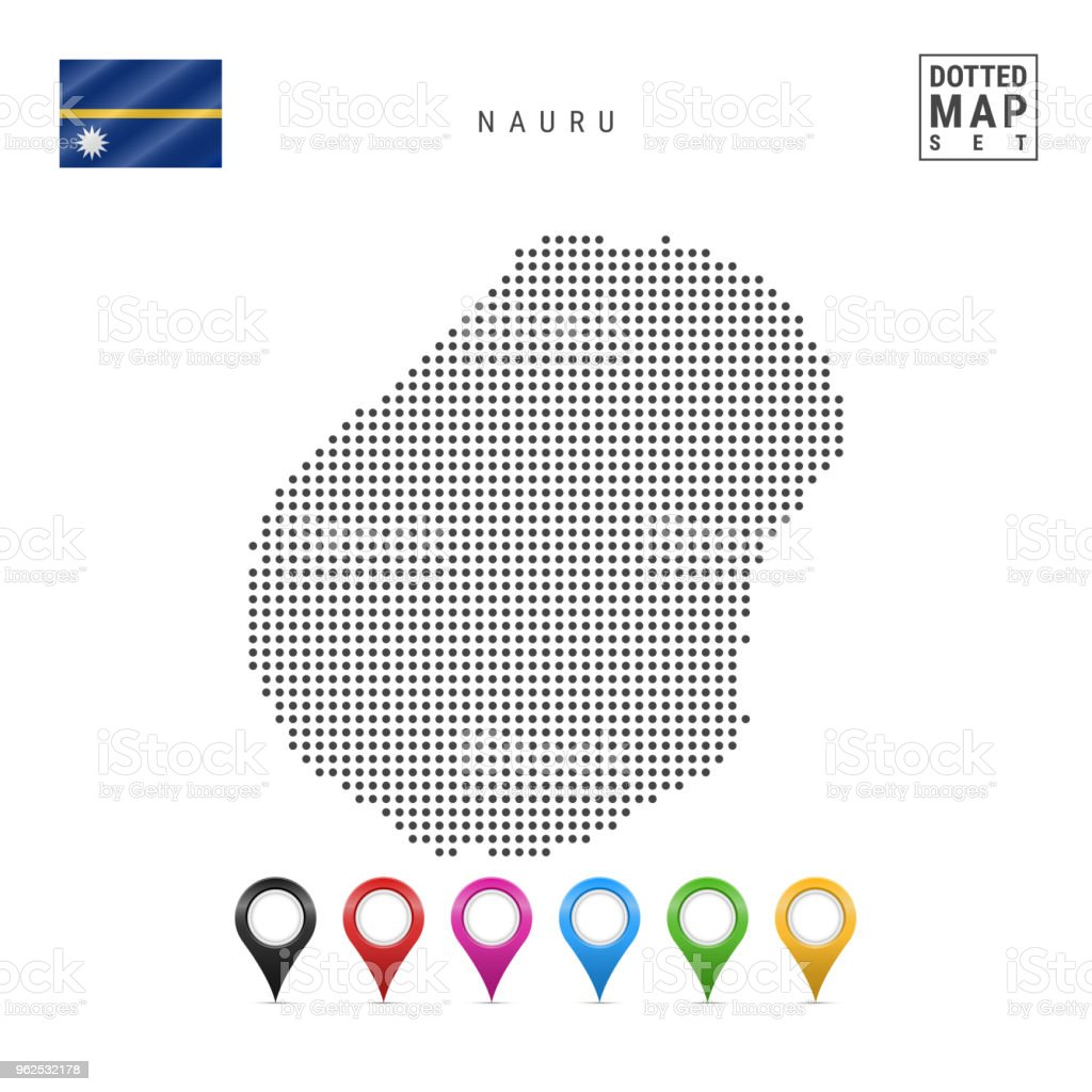 Vector Dotted Map of Nauru. Simple Silhouette of Nauru. The National Flag of Nauru. Set of Multicolored Map Markers - Royalty-free Cartography stock vector